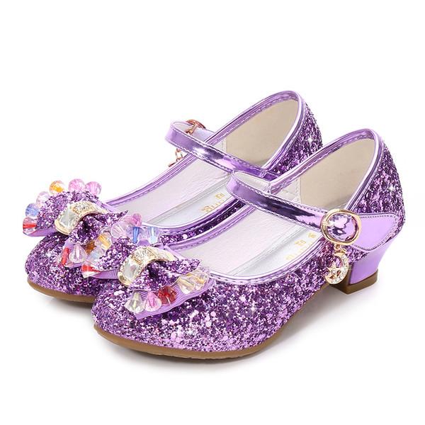 Brilhantes Meninas Brilhantes Sapatos de Cristal Arco Da Menina Da Criança Sandálias de Verão Sapatos para Festa de Casamento Princesa Sapatos Traje Cosplay Flamenco