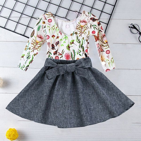 Toddler Girl Boutique Outfits Baby flower print shirt + Gray skirt 2pcs Set Kids Spring Fall Clothing