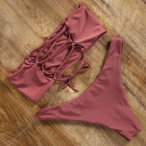 Corte alto biquíni push up mulheres sexy maiô brasileiro tanga floral bikini set bandeau rendas swimwear off ombro maiô