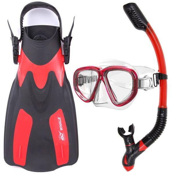 Whale Water Sports Diving Equipment Masque de plongée sous-marine avec tuba et palmes noir rouge bleu jaune MK500 + SK900 + FN200
