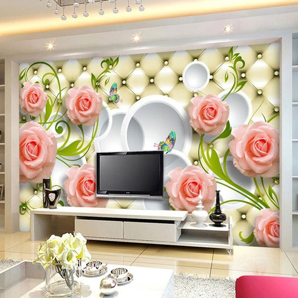 Custom Photo Wallpaper Rose Leather 3D Mural Wall Paper For Living Room Wallpaper TV Background Home Decor Papel De Parede 3D