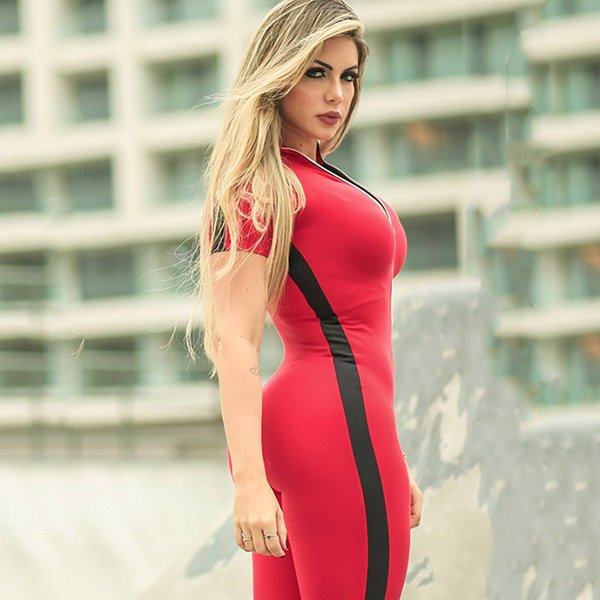 2019 kadınlar için kırmızı spor giyim spor clothing patchwork zip-up kısa kollu yoga set spor kadınlar spor romper egzersiz giysi