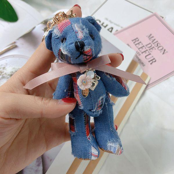 Korean cartoon doll cloth art knuckle bow cowboy bear girl car bag pendant key ring
