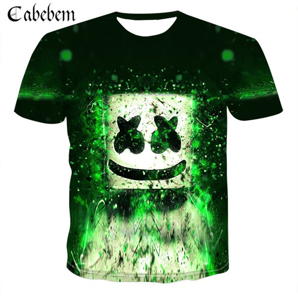 Sound activated LED 3D printing T-shirt lighting up and down flashing equalizer EL T-shirt men's rock disco ball DJ men's shirt