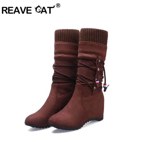 REAVE CAT sapatos de cunha de Inverno mid-claf botas franja interior escondido saltos kntting flock Mulher quente fur slip on bootie preto US 8