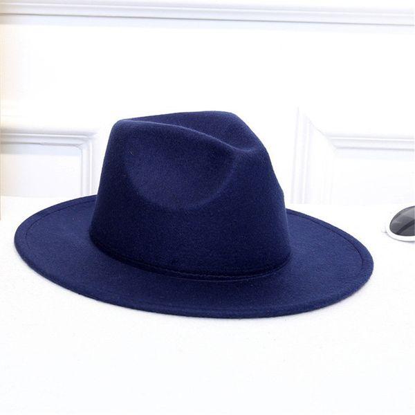 Chapeaux pour femmes ISHOWTIENDA en laine Classiques Gentleman Large Brim Felt Welt Laine Chapeaux Fedora Pour Floppy Cloche Top jazz Cap