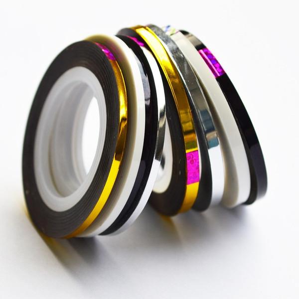 1 stücke 2mm 3mm Schönheit Rollen Abisolieren Aufkleber Folien nail Art Band Linie DIY Neue Silber / Gold / Schwarz / Weiß Werkzeuge Maniküre Werkzeug LANC125