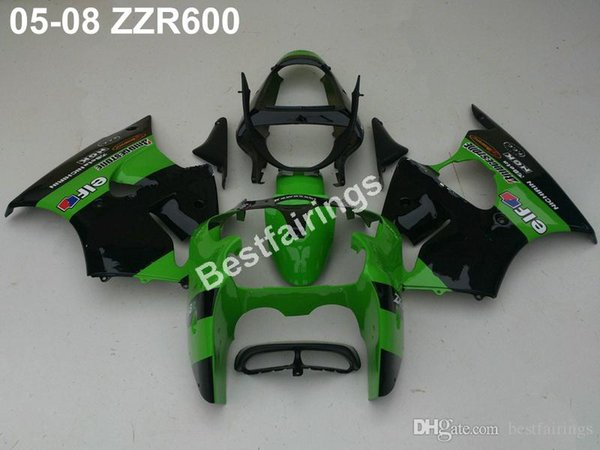 Free 7 gifts injection mold fairing kit for Kawasaki ZZR600 05 06 07 08 green black fairings set ZZR 600 2005-2008 ZV28