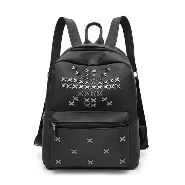 new ladies backpack pu leather rivets casual fashion size backpack knapsack student solid color bag knapsack female gs-bp-22