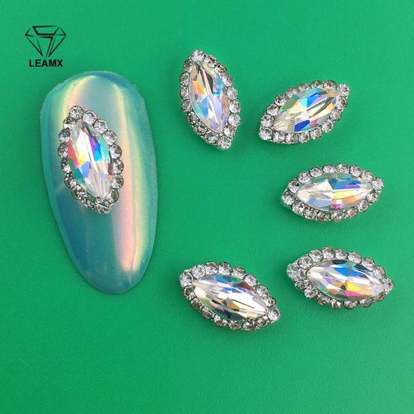 LEAMX 10pcs Designs 3d DIY Charm Gem Rhinestone Nail Art Jewelry Rainbow Women Nail Decorations Manicure Tools 2 Style 2018 New