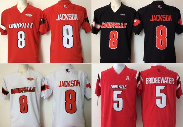 Factory Outlet- NCAA Louisville Cardinals Red #8 #5 College Football Jersey stitched,size S-3XL, jMix Order Sports Jersey