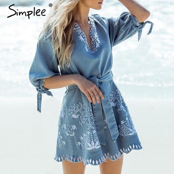 Simplee Sommer V-Ausschnitt Embrodiery Denim Kleid Frauen Elegante Schärpen Kurze Blue Jeans Kleider Casual Holiday Ladies Beach Dress Y19052901