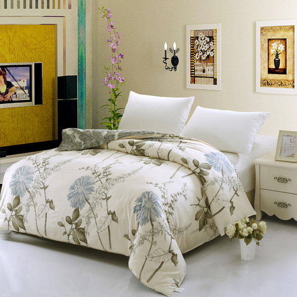 Hot sell 100% Cotton Beige Flower Spring Refreshing Bedding Set Full Queen King Size Bed Quilt/Duvet Cover Fashion Style 1pcs