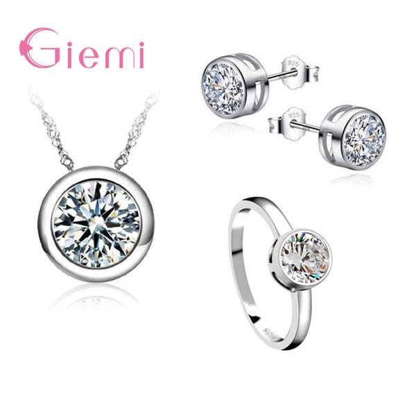 Großhandel 3PCS Einfache High-End Frauen Hochzeit 925 Sterling Silber Schmuck Sets Dazzling Clear CZ Halskette / Ohrring / Ringe