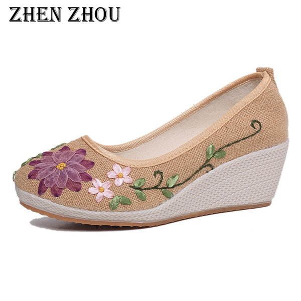 Designer Dress Shoes Linen breathable old Beijing cloth Jiangnan wind embroidered wedges comfortable women's
