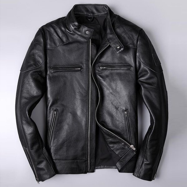 Name  Men Genuine Leather Jackets XXXL Cow Leather Baseball Jackets and Coats Slim Fit  Cowleather Streetwear