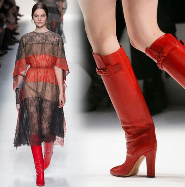 Moda Kırmızı Kadın Çizmeler Pist Diz Yüksek Topuklu Fermuar Kadın Ayakkabı Tıknaz Topuklar PU Deri Yuvarlak Ayak Zapatos Mujer