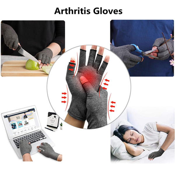 top popular 1 Pair Compression Arthritis Gloves Premium Arthritic Joint Pain Relief Hand Gloves Therapy Open Fingers Outdoor Sports Compression Gloves 2021