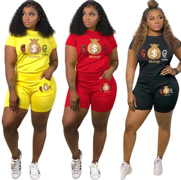 Frauen Zweiteilige Sommeroutfits Frauen Zweiteiliges Set Trainingsanzug Sommerkleidung Druck Rundhalsausschnitt Kurzarm T-Shirt Tasche Dünne Shorts
