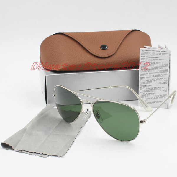 Hot selll fashion 20pcs Arrival Designer Pilot Sunglasses Men Women Outdoorsman Sun Glasses Eyewear 58mm 62mm Glass Lenses With Brown Case
