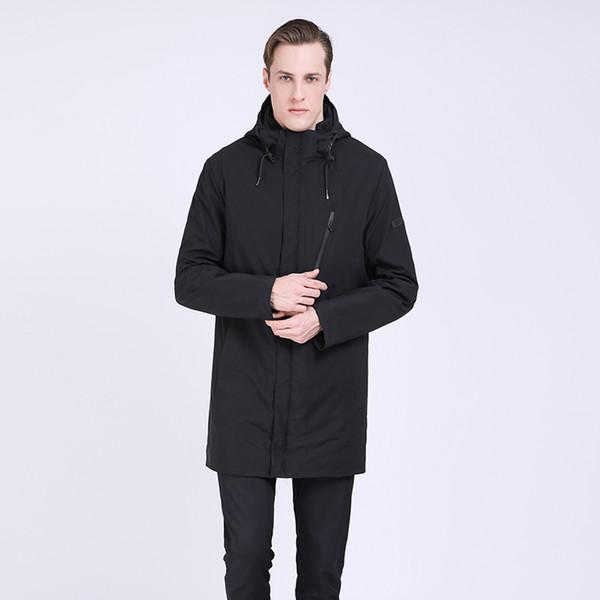 2019 hommes veste longue printemps noir tranchée manteau hommes coupe-vent Casual chaud manteau matelassé long mens tranchée Parka Homme outwear