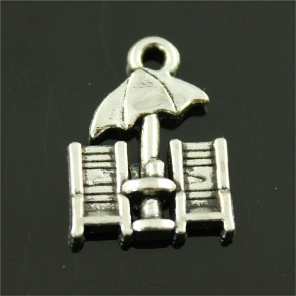 100pcs Charm Beach Chairs Beach Chairs Pendant Charms For Jewelry Making Antique Silver Beach Chairs Charms 14x20mm