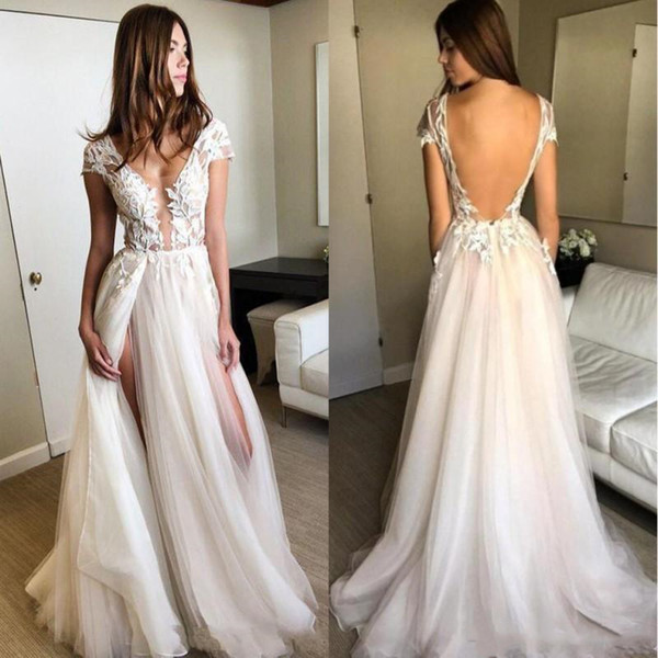 2019 Sexy Backless Summer Beach Wedding Dresses Deep V Neck Side High Slit Lace Applique Illusion Tulle Bohemian Boho Bridal Gowns Plus Size