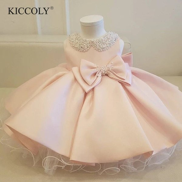 Infant Girl Clothes Beads Bow Pink Tulle Newborn Baptism Dress Baby Girls Party Princess Christening 1 Year Birthday Outfits J190528