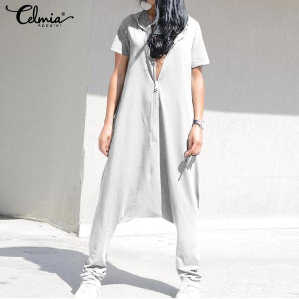 Celmia Plus La Taille Combinaisons Vintage Femmes Salopette Baggy Harem Pantalon Femme Gars Crotch Playsuits Femme Pantalon Zip Longs Barboteuses