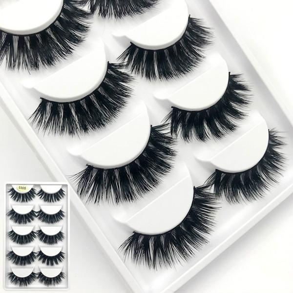 AMSIC 5pairs 3d Mink Lashes 100% Thick Real Mink False Eyelashes Natural for Beauty Makeup Extension Fake Eyelashes FD03