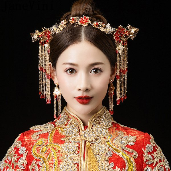 JaneVini Chinese Ancient Red Beads Luxury Bridal Hair Pins Gold Sets Pearl Wedding Bride Headdress Hair Jewelry Flower Headpiece