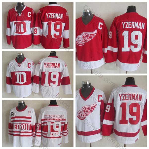Top Qualité # 19 Maillots Steve Yzerman CCM Vintage 75e Classique Hivernale 19 Red Wings de Detroit Maillot de Hockey Steve Yzerman Cousu C Patch