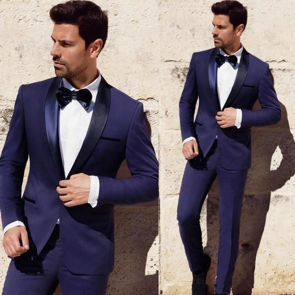 Neue modische Bräutigam Smoking Groomsmen One Button Blauer Schal Revers Best Man Suit Hochzeit Herren Blazer Anzüge (Jacke + Hose + Tie) 1274
