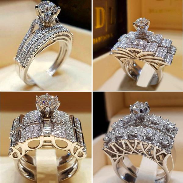 Set di anelli rotondi bianchi in cristallo femminile Anello di fidanzamento in argento 925 di lusso promesso di marca Fedi nuziali vintage per donna