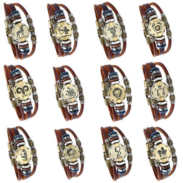 20 styles Nouveau 12 Constellation Lumineux Bracelet Hommes En Cuir Bracelet Charme Bracelets pour Hommes Garçons Femmes Fille Bijoux Accessoires pksp4-5