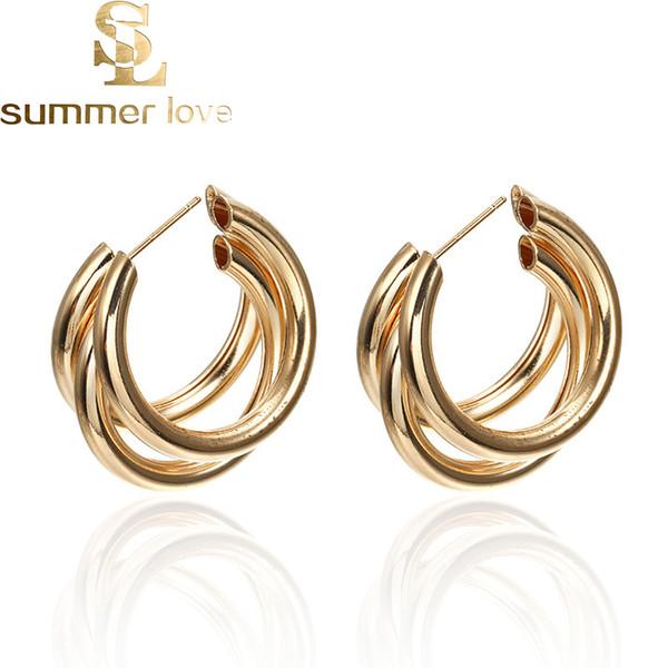 New Fashion Simple Metal Wind Letter Round Shape Hoop Earrings For Women Silver Gold C-Shape Earrings Wedding Bridal Jewelry Wholesale