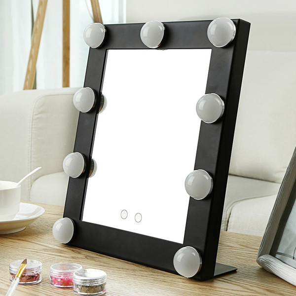 Table Single LED Model Portable Makeup Mirror Illuminated Cosmetic Vanity Mirror With Bulbs Import Glass Double Lights Free Shipping BV