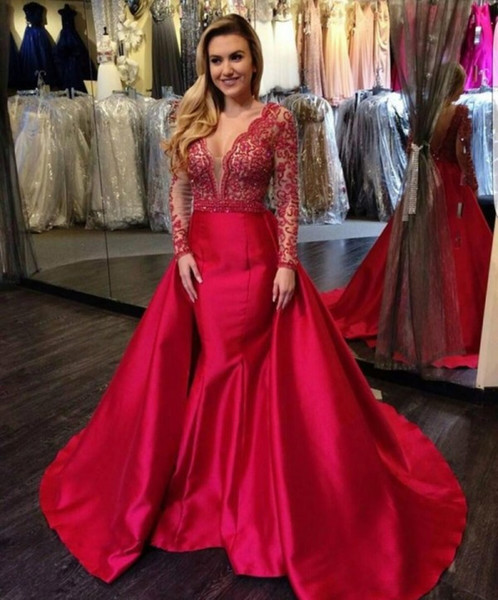 Stunning 2019 Formal Long Fitted Evening Gowns Sexy Deep V Neck Low Cut Back Red Lace and Satin Mermaid Evening Dresses Prom Gowns