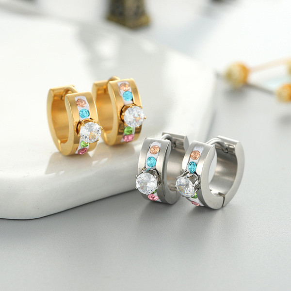 Europa y las nuevas damas pendientes de acero titanium con diamante de titanio 2019 pendientes de cristal de color hexagonal caliente