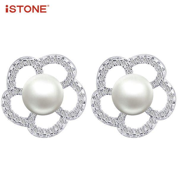 iSTONE Il più popolare stile dolce Orecchini pendenti in perle a forma di fiore Orecchini in argento gioiello regalo per le donne Y18110503
