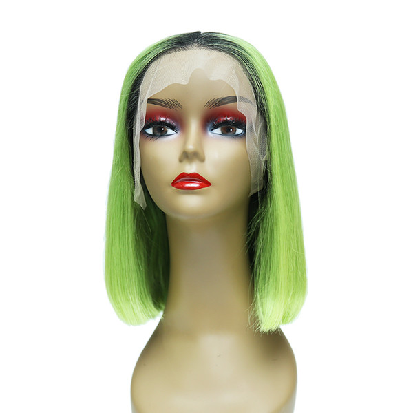 Bob Lace Front Human Hair Wigs With Baby Hair Pre Plucked Brazilian Virgin Hair Full End Straight Short Bob Wig For Black Women