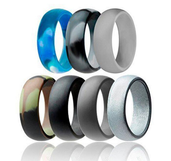 Silicone Wedding Ring Flexible Silicone O-ring Wedding Comfortable Fit Lightweigh Ring for Mens Multicolor Comfortable Design KKA2395