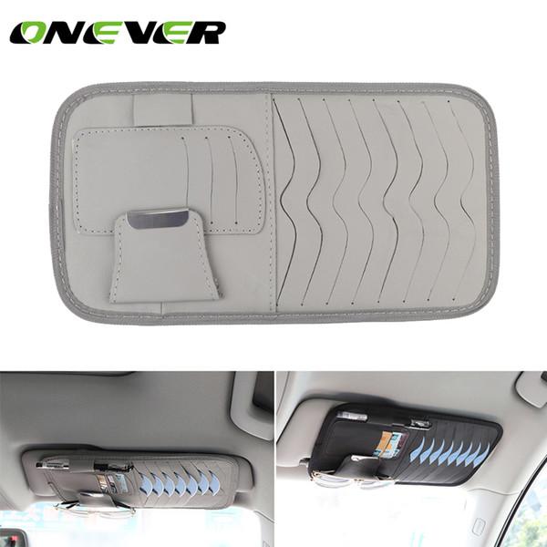 PU cuir titulaire voiture CD auto pare-soleil Carte disque Sac Clipper Case Organisateur Style intérieur Car Cover pour les cartes en verre Pen