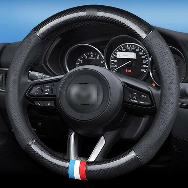 For Mazda Car Steering Wheel Cover anti slip Carbon Fiber Leather Size 15 inch
