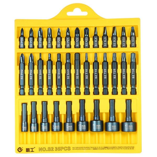 La clé de Penggong définit le tournevis électrique 35Pcs 25Mm / 50Mm fendu Phillip Torx les embouts de sortilège a placé des outils d'entraînement réparent le kit