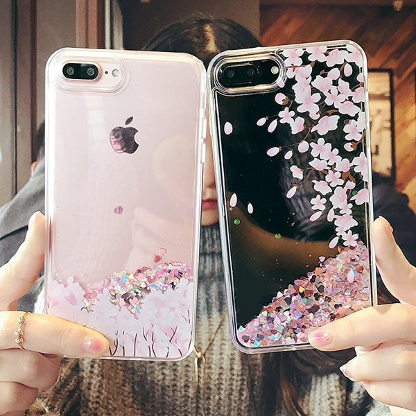 Dynamic liquid glitter Case for iPhone 8 7 6 6S Plus X Fresh Tulip flower quicksand Case For iPhone 6 Plus girl style