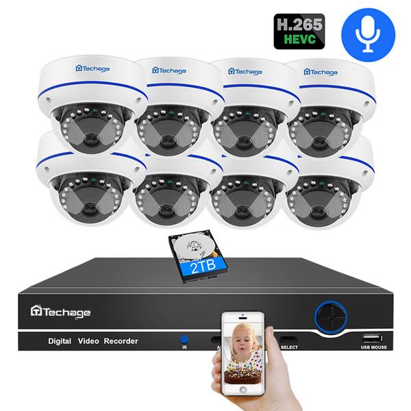 Techage H.265 8CH 1080P POE NVR Camera System 2MP HD Dome Security Surveillance Set VandalProof IR Night Vision CCTV Video Kits