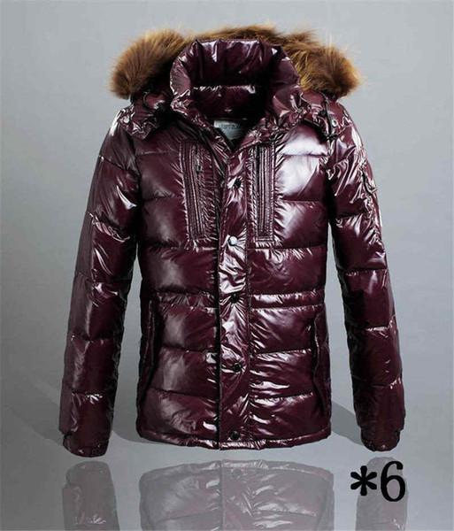 Chaqueta para hombre del estilo de la pluma abajo cubren con capucha de piel caliente gruesa cazadora Moda caliente venta al por mayor de la chaqueta de la cremallera Escudo de invierno * 6