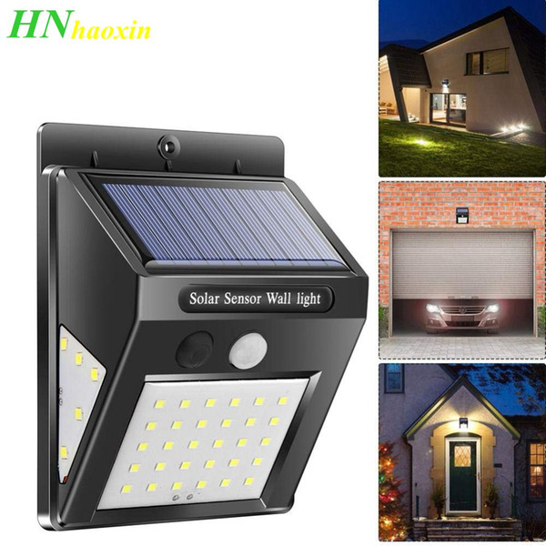 30 LED Solar Powered PIR Motion Sensor Wall Security Light Garden Outdoor Lamp