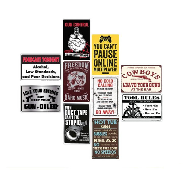 attention warning danger tin sign metal painting art vintage Bar shop tool rules metal plate cow boys leave your guns painting rock roll
